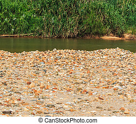 Stones background In the river Phang Nga Province Thailand