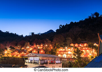 View city night Doi Ang Khang Chiang mai Thailand