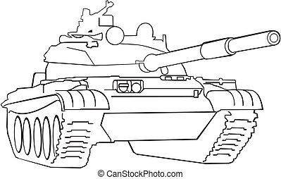 Army tank - Silhouette of army tank on white