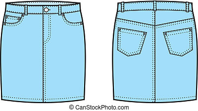 Jeans skirt - Vector illustration of jeans skirt Front and...