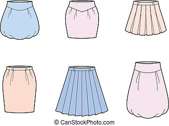 Skirt - Vector illustration of womens skirts
