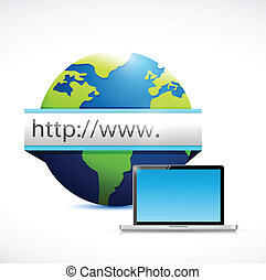 web globe search bar and computer laptop illustration design...