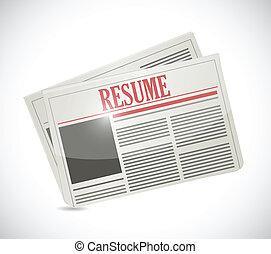 resume newspaper illustration design