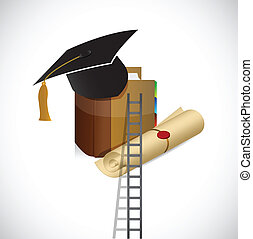 ladder to a better education. illustration design over a...