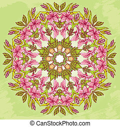Round pattern - abstract floral background with hand drawn flowers - tiger lillies.