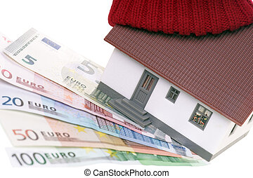 heating costs - small house with hat and euro banknotes
