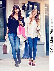 bonito, meninas, shopping, sacolas