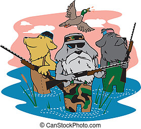 Hunting Dogs - A pack of dogs hunting ducks