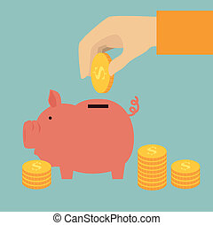 Saving money over blue background, vector illustration