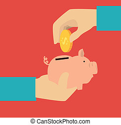 Saving money over red background, vector illustration