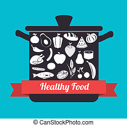 Healthy food design over blue background, vector...