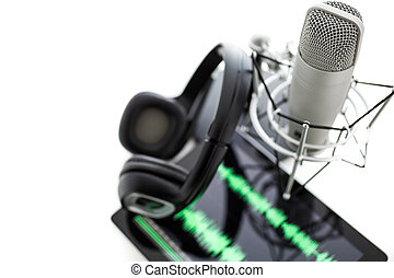 Podcasting - Studio microphone for recording podcasts with...
