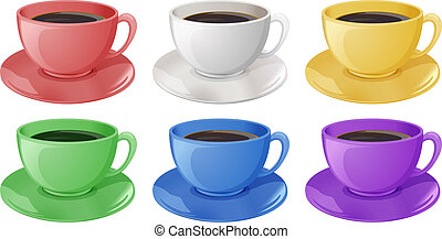 Cups with coffee - Illustration of the cups with coffee on a...