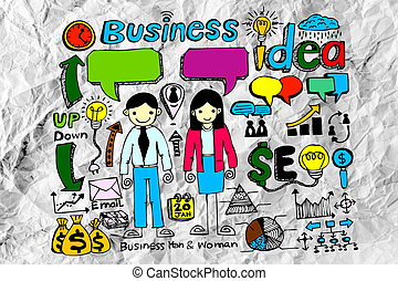 Hand doodle Business icon set idea design on crumpled paper