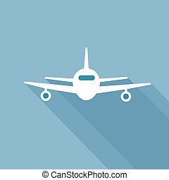 Flat long shadow air plane icon