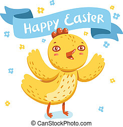 Happy Easter greeting with cute nestling vector illustration