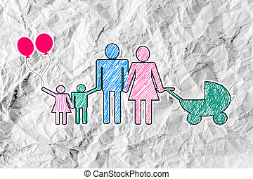 People Family icon Pictogram People on crumpled paper