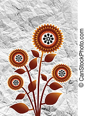 Flowers design on crumpled paper