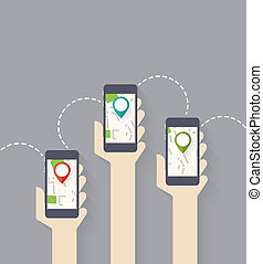 Gps connection - Design for app. Hands hold smarthphone with...