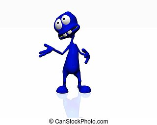 blue alien - 3d render of cartoon alien