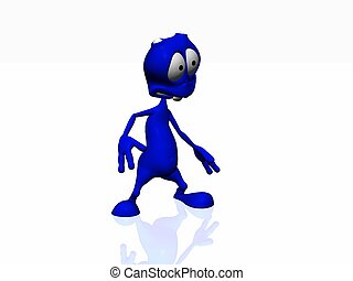alien - 3d render of cartoon alien