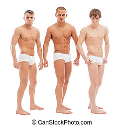Handsome naked guys posing in white briefs - Image of...