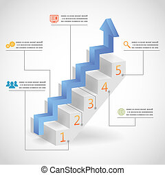 Success Steps Concept Arrow and Staircase Infographic Icons...