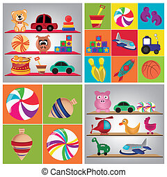toys - four different backgrounds with different colored...