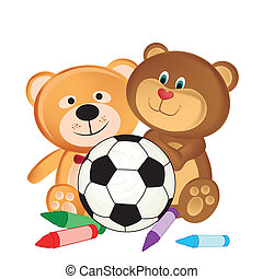 toys - a pair of teddy bears with some crayons and a soccer...