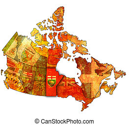 manitoba on map of canada - manitoba on administration map...