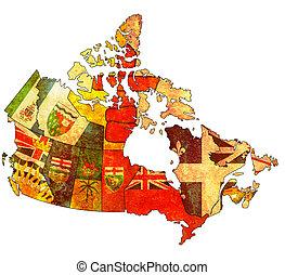 administração, mapa, Canadá