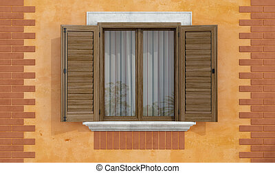 Old facade with wooden windows - detail of an old house with...