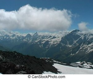 mountain panorama - panoramic view in Caucasian mountains