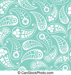 Seamless paisley texture in blue, vector