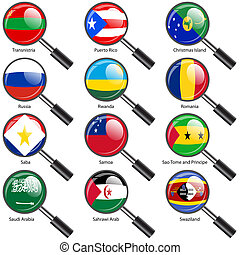 Set  Flags of world sovereign states Magnifying glass. Vector illustration. Set number 13. Exact colors. Easy changes.