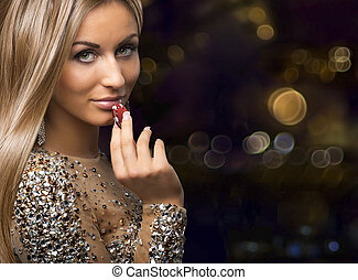 girl on boleh background with casino chips