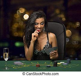 poker,  brunette, jouer,  girl,  casino