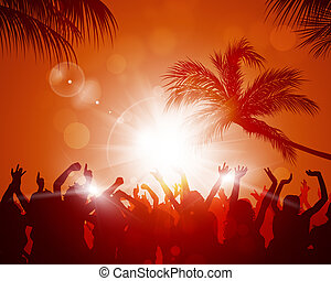 Beach Sunset Party - party crowd raving among palms before...