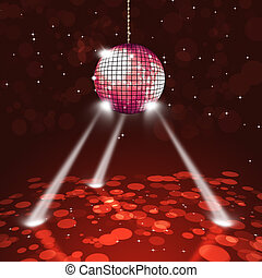Disco Party Music Ball - music disco ball on dark red...