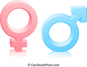 Man woman male female gender signs - Man and woman, male and...