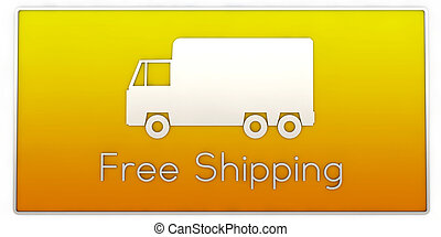 free shipping truck sign isolated on white background