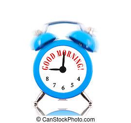 Good Morning! Alarm clock ringing isolated on white