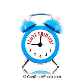 I love Fridays! Alarm clock ringing isolated on white