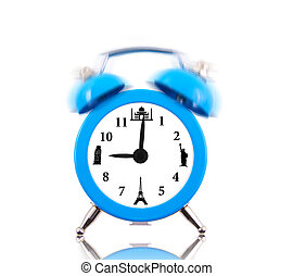 Classic alarm clock ringing, with landmarks on dial isolated