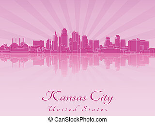 Kansas City skyline in purple radiant orchid in editable...