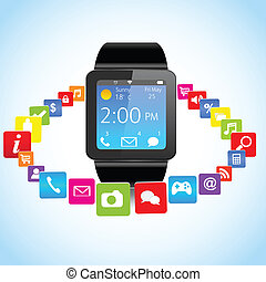 Smartwatch and Application Icons - Smart watch with colorful...