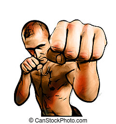 The Fighter color Illustration on white Background