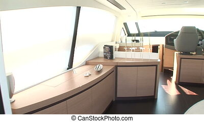 Main deck of luxury yacht on sunny day