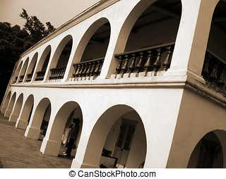Colonial Architecture - Old colonial trading house in the...