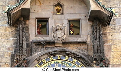 Prague Astronomical Clock - Ceremony with twelve apostles...